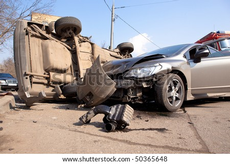 car accident on the road - stock photo