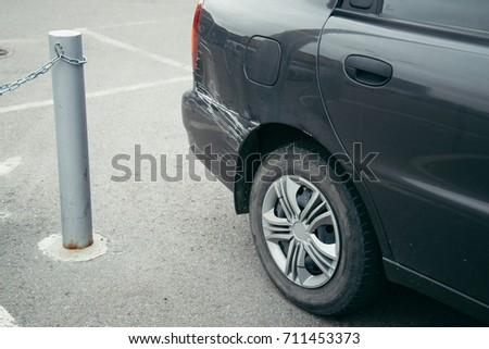 car accident, scratch on car, bad parking #711453373