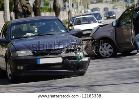 Car accident with traffic-jam