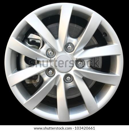 car alloy wheel isolated on black background #103420661