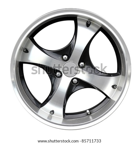 car alloy wheel, isolated over white background. (Save path)