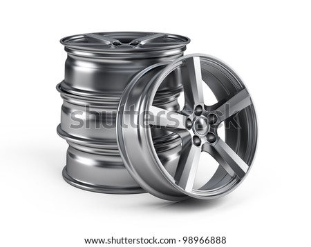 Car alloy wheels isolated on white