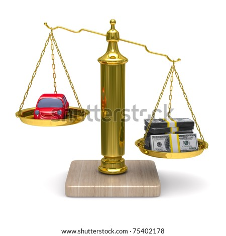 car and cashes on scales. Isolated 3D image
