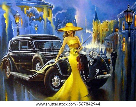Car and  girl, old city, oil paintings,art