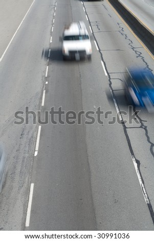 Car and Highway, Blurred Motion