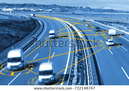 Car and technology. Autonomous car and self driving concept.Intelligent transport background