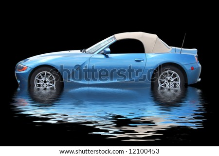 car and water reflection - stock photo
