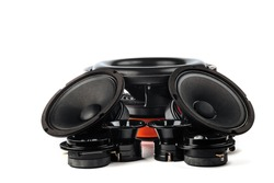 Car audio, car speakers, black subwoofer on a white background. Copy space, isolated