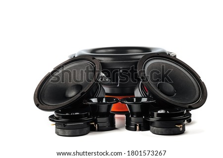 Car audio, car speakers, black subwoofer on a white background. Copy space, isolated Сток-фото ©