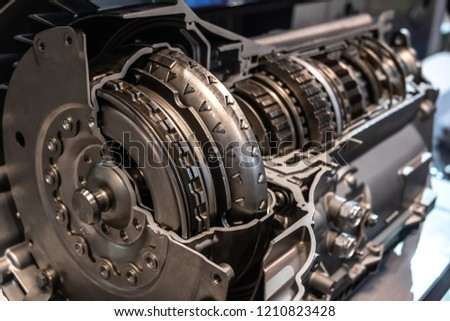Car automatic transmission cutaway closeup