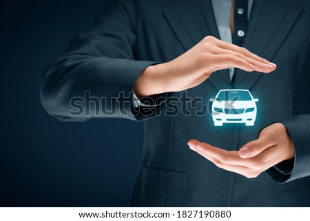 Car (automobile) insurance and collision damage waiver concepts. Female insurer (insurance agent) with protective gesture and icon of a car. Сток-фото ©