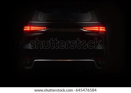 Car back lights shining in the dark