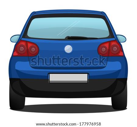 Car Back View - Blue