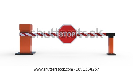 Car barrier gate with stop sign isolated on white background, Closed automatic boom, security system block vehicle crossing, checkpoint. Check before entry exit concept. 3d illustration Сток-фото ©