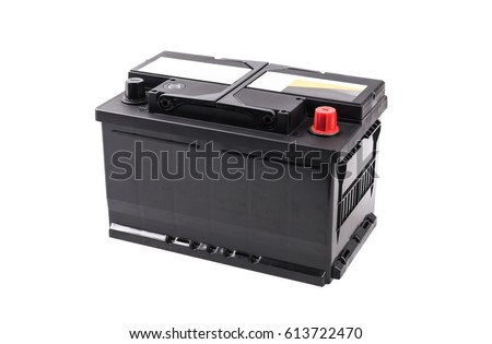 Photo of  Car battery isolated on white background.