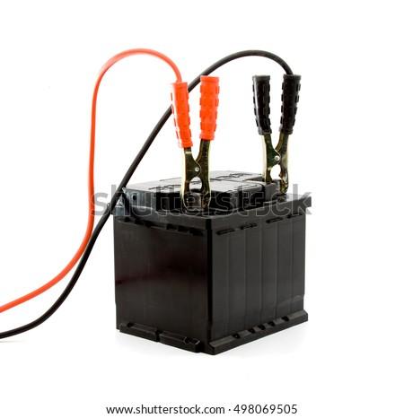 car battery jump start set studio isolated #498069505