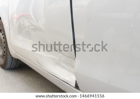 Car body side damage after accident. The car after accident. #1466941556