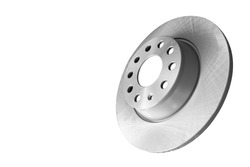Car brake disc isolated on white background. Auto parts. Brake disc rotor isolated on white. Braking disk. Car part. Spare parts. Quality spare parts for car service or maintenance