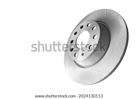 Car brake disc isolated on white background. Auto parts. Brake disc rotor isolated on white. Braking disk. Car part. Spare parts. Quality spare parts for car service or maintenance ストックフォト ©