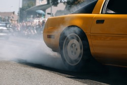 Car burn out and drift at the city street