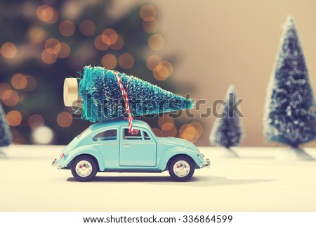 car carrying a christmas tree...
