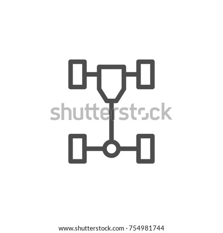 Car chassis line icon isolated on white