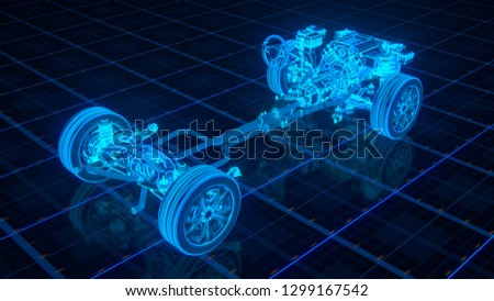Car Chassis Scheme 3d render