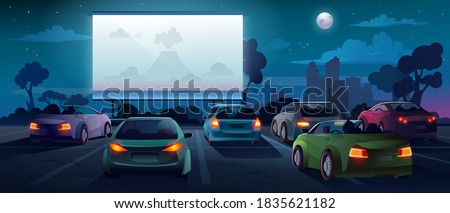 Car cinema or drive in movie theater and auto theatre with outdoor screen, cartoon background. Car cinema or drive movie in open air with people in cars on parking lot watching movie