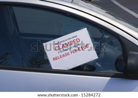 Car clamped penalty notice