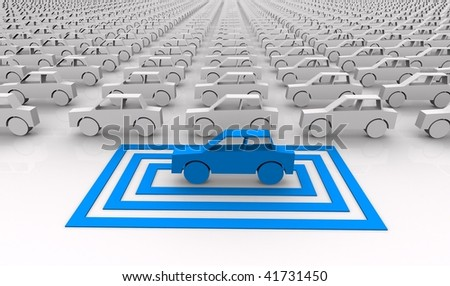 Car concept - blue car targeted in squares.