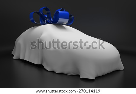 Car concept of a new luxury vehicle under a white covering with a blue ribbon