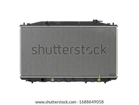 Car condenser radiator on white background. Radiator top view of radiator for pick-up truck radiator set.