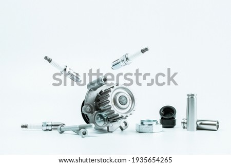 Car construct. Set of new metal car part. Auto motor mechanic spare or automotive piece isolated on white background. Technology of mechanical gear Сток-фото ©