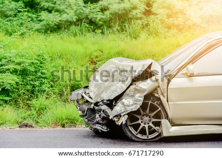 car crash accident on street, car accident from rain, damaged automobiles after collision in city #671717290