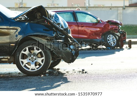 car crash accident on street. damaged automobiles #1535970977