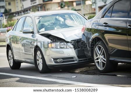 car crash accident on street. damaged automobiles Stock photo ©