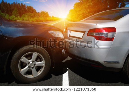 Car crash accident on street, damaged automobiles after collision  #1221071368