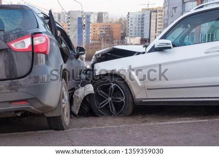 car crash accident on street, damaged automobiles after collision in city #1359359030
