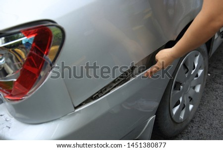 Car crash accident on street, damaged automobiles after collision in city #1451380877