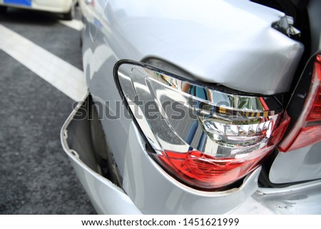 Car crash accident on street, damaged automobiles after collision in city #1451621999