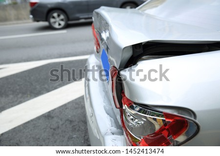 Car crash accident on street, damaged automobiles after collision in city #1452413474