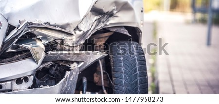 car crash accident on street, damaged automobiles after collision in city #1477958273