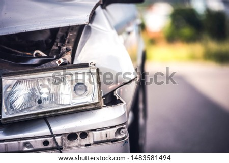 car crash accident on street, damaged automobiles after collision in city #1483581494