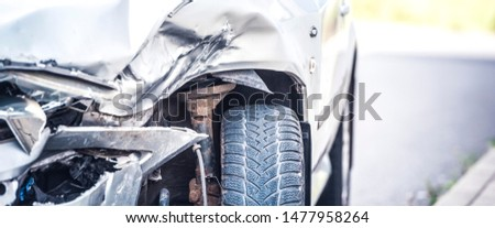 car crash accident on street, damaged automobiles after collision in city. Panorama #1477958264