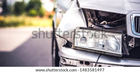 car crash accident on street, damaged automobiles after collision in city. Panorama #1483581497