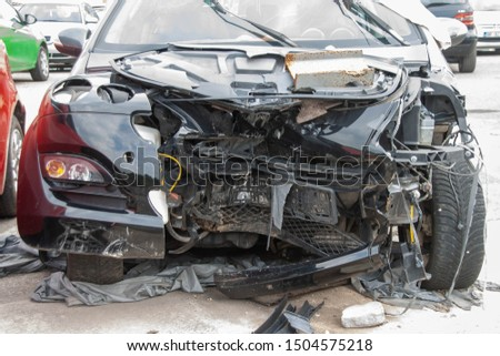 car crash accident on street, damaged automobiles after collision in the city #1504575218