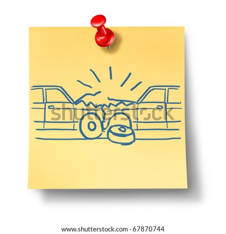 car crash auto accident insurance claim adhesive office note yellow paper isolated
