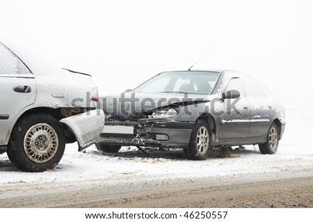 car crash ca accident at snow road in winter