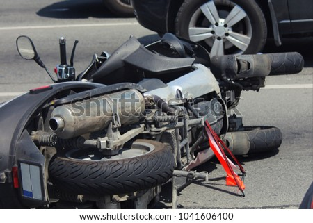 Car crash collision accident with scooter, motor bike #1041606400