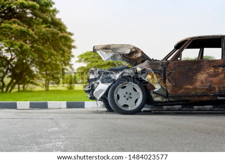 Car crash,  Front of car damage by accident on the highway in the countryside. #1484023577